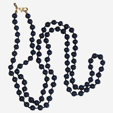 """Monet Navy Blue Glass Hand-knotted Necklace with Patented Clasp - 28"""""""