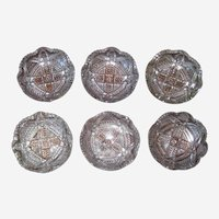 Set of Six EAPG Small Pressed Glass Bowls - Circa 1880