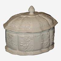 Italian Ceramic Dresser Box with Embossed Floral Design