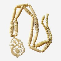 Chinese Hand Carved Bone Dragon Pendant Necklace