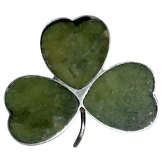 Sterling Silver Connemara Marble Irish Shamrock Pin
