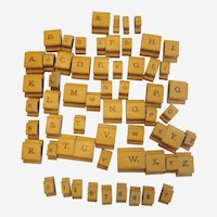 Partial Set of Wooden Printing Stamps or Alphabet Blocks