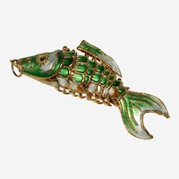 Chinese Enameled Articulated Green Fish Pendant