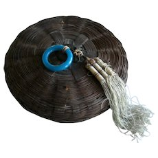 Chinese Sewing Basket with Peking Glass Ring, Coin and Silk Tassel