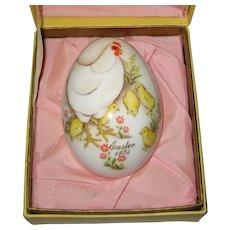Noritake 1973 Hand Painted Bone China Porcelain Easter Egg - Hen and Chicks