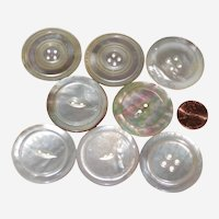 Eight Extra Large Mother of Pearl Buttons