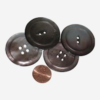 Four Large Smoky Gray Mother of Pearl Abalone Shell Buttons