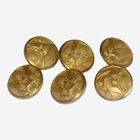 Lot of Six WWII Waterbury Brass Army Uniform Buttons