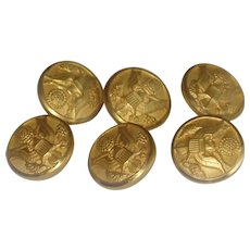 Lot of Six WWII Waterbury Brass Army Uniform Buttons