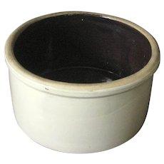 Large Cream Stoneware Crock with Brown Interior - Circa 1880