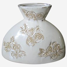 Hourglass Shaped Artisan Pottery Vase with Incised Roses