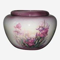 Pottery Jardiniere or Planter with Iris  Flowers