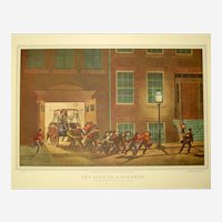 Currier and Ives Print - Life of a Fireman, Night Alarm