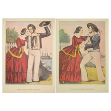 Two Currier and Ives Prints - Sailor's Adieu and Sailor's Return