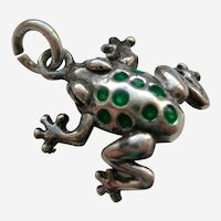 Three Dimensional Sterling and Enamel Spotted Frog Charm
