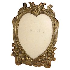 Brass Heart Shaped Photo Frame with Lilies