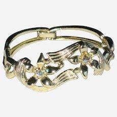 S & G Fifth Avenue Gold-tone Floral Bracelet with Aurora Borealis Stones