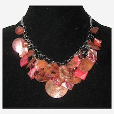 Sunset Pink Mother of Pearl MOP and Shell Bib Necklace