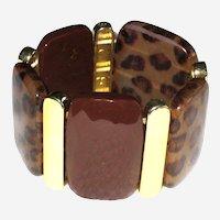 Retro Acrylic Leopard Pattern Stretch Cuff Bracelet