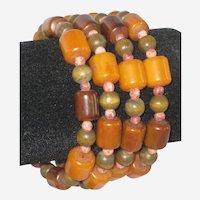 Wood and Imitation Amber Wrap Bracelet