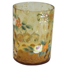 Amber Victorian Glass Tumbler with Enameled Flowers