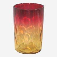 American Victorian Art Glass - Amberina Venetian Diamond Tumbler