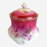 Victorian Porcelain Biscuit Barrel - Pink with Purple Flowers