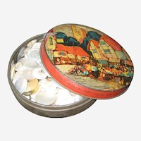 Vintage Toffee Tin Filled with Mother of Pearl Buttons