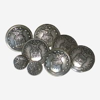 Set of Eight Waterbury United States Air Force Uniform Buttons