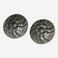Pair of Silver-tone Edwardian Metal Shank Buttons with Flower Design