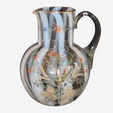 Victorian Art Glass Enameled Opalescent Pitcher with Birds