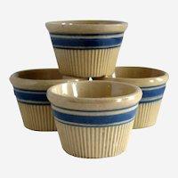Set of Four Hull Yellow Ware Pottery Ramekins or Custard Cups