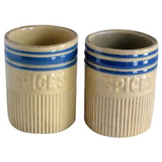 Pair of Early Hull Yellow Ware Pottery Spice Jars