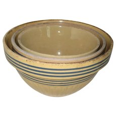 Set of Three Nesting Yellow Ware Mixing Bowls with Cobalt Stripes