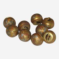 Set of 9 Victorian Metal Ball Buttons with Flowers