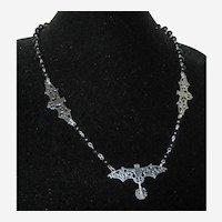 Halloween Silver-Tone Bat Necklace with Crystal Drop - Adjustable