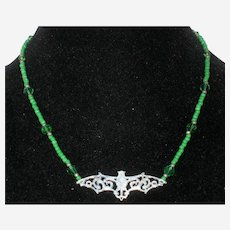 """Halloween Silver-Tone Bat Necklace with Green Glass Beads - 18"""""""