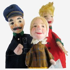 Set of Three Dresdner Kuntsler Puppets - Policeman, Grandma and Naughty Boy