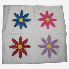 """18"""" Quilt Block with Flowers - Hand Sewn"""
