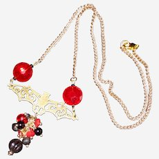 """Halloween Gothic Necklace with Bronze-finished Bat and Red Crystals - 23"""""""