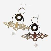 Silver-Tone Bat and Moon Earrings