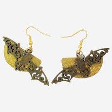 Halloween Bat and Half  Moon Earrings