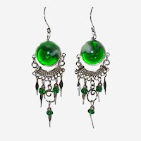Peruvian Glass and Twisted Wire Earrings in Poison Green