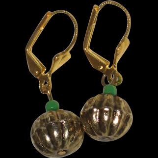 Gold-Tone Pumpkin Earrings with Green Glass Stems