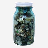 "Blue Glass Ball ""Perfect Mason"" Quart Jar Full of Old Buttons"