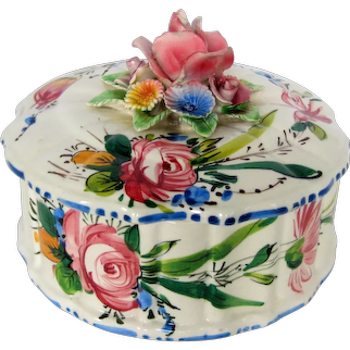 Covered Italian Majolica Dish with Roses and Flowers