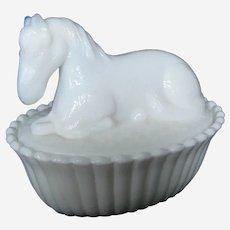 Westmoreland Milk Glass Pony Horse Covered Dish
