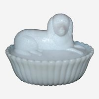 Milk Glass  Covered Dish Dog on a Basket or Nest