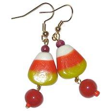 Lampwork Glass Candy Corn Earrings with Orange Drops