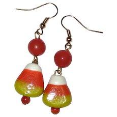 Lampwork Glass Candy Corn Earrings - Orange Beads